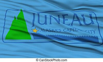 Closeup of Juneau City Flag, Waving in the Wind, Alaska ...