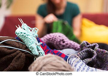 closeup of knitting gear