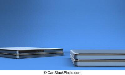 Closeup Of Laptops On Blue