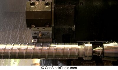 Closeup of lathe in action.