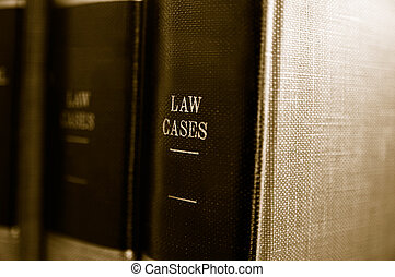 Closeup of law books on a shelf