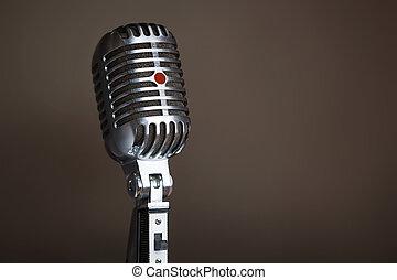 Closeup of legendary retro microphone. - Close up of...