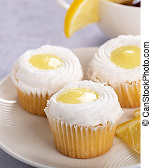 Closeup of Lemon Cupcakes with White Icing