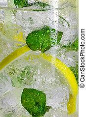 Closeup of lemon drink with mint leaf