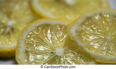 closeup of lemon slice. Macro, svooth motion