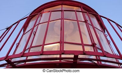 Closeup of Lighthouse top with lamp rotation mechanism in...