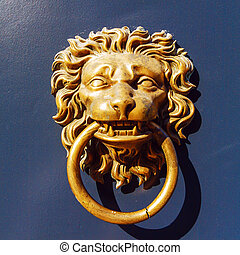 Closeup of Lion Door Knocker