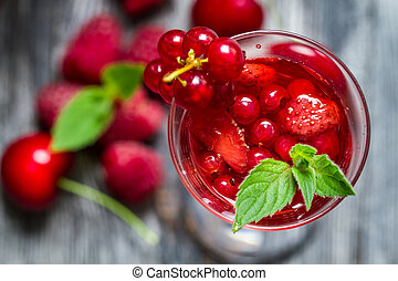 Closeup of liqueur made of wild berries and mint