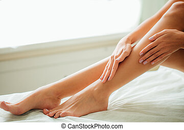 Closeup Of Long Woman Legs With Perfect Hairless Smooth And...