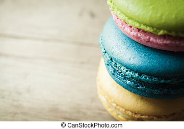 closeup of macaron on wooden