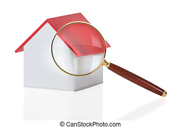 Closeup Of Magnifying Glass And House Model