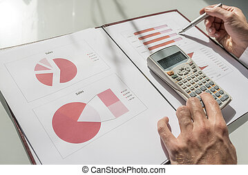 Closeup of male accountant or financial adviser going through annual report of sales