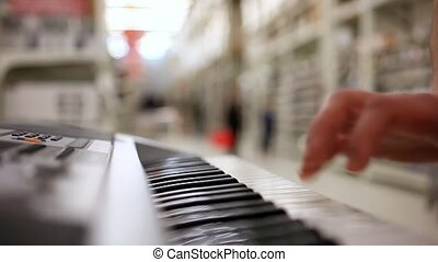 closeup of male hands playing piano. Man Playing the synthesizer keyboard. HD. 1920x1080