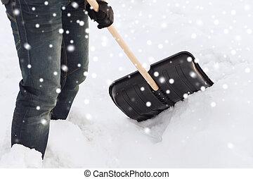 closeup of man digging snow with shovel - transportation,...