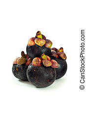 Closeup of mangosteen on white background