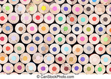 Closeup of many unsharpened multicolored wooden pencils background. Pluralism concept