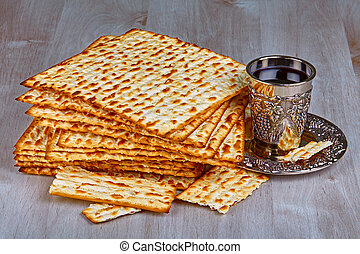 Matzah with cup of wine - Closeup of Matzah with cup of wine...
