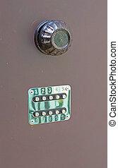 closeup of mechanical combination lock