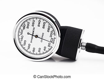 Closeup of medical sphygmomanometer isolated