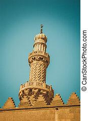 closeup of minaret at cairo, egypt