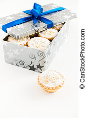 Closeup of Mince Pies in Christmas Container Isolated on White