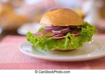 Closeup Of Mini Burger Served On White Plate