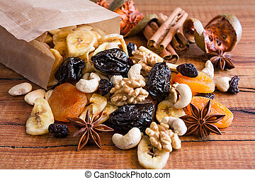 Closeup of mix of dried fruits and nuts in a paper bag
