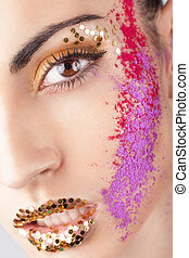 Closeup of model with extraordinary makeup
