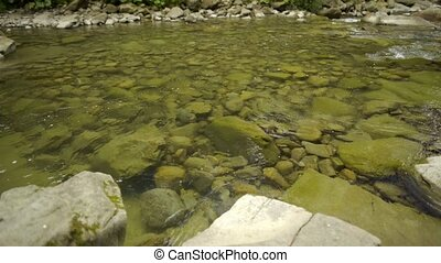 Closeup of mountain river - Closeup of a flow of shallow...