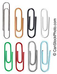 Closeup of multi-colored paper clips