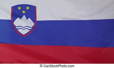 Closeup of national flag Slovenia - Closeup of a fabric...