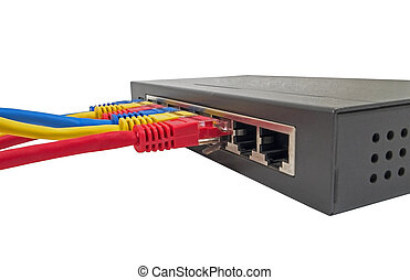 network cables connected to router