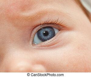 Closeup of newborn blue eye.