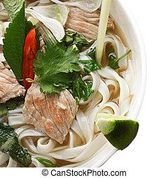 Closeup of noodle pho soup overhead