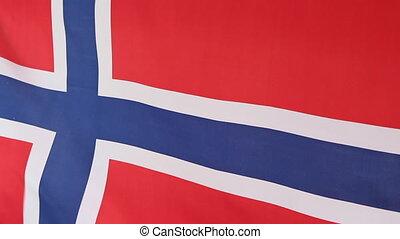 Closeup of Norwegian national flag - Closeup of a fabric...