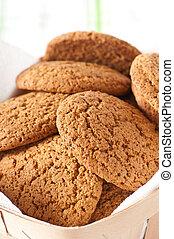 Closeup of oatmeal cookies