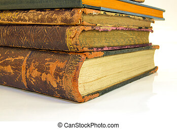 book - closeup of old books from an antiquarian bookshop