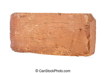 Closeup of old brown brick isolated on a white background