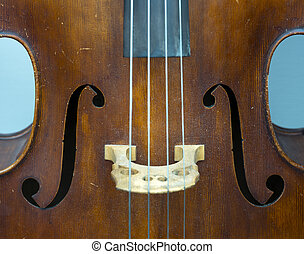 closeup of old double bass with f hole