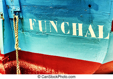 Closeup of old fishing boat in Funchal, Madeira