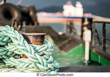 Closeup of old frayed boat rope