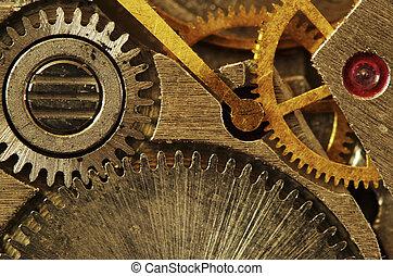 mechanism - Closeup of old metal clock mechanism