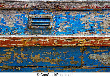 Closeup of old paintwork on boat