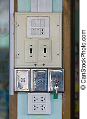 Closeup of old socket, electrical outlet.