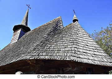 closeup of old wooden church roof