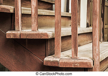 Closeup of old wooden stairs