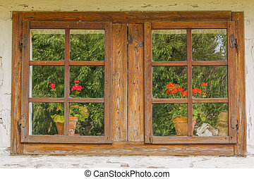 Closeup of old wooden windows with flowers