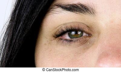 Closeup of one green eye