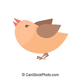 Closeup of Orange Bird on Vector Illustration