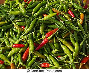 Closeup of organic chilli background